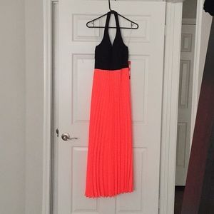 Maxi black and coral halter dress